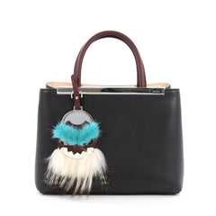 Fendi 2Jours Monster Mirror Handbag Leather Petite Black