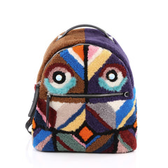 Fendi Bugs Backpack Multicolor Shearling with Fur Purple