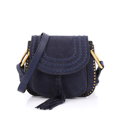 Chloe Hudson Handbag Whipstitch Suede Small Blue