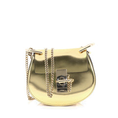 Chloe Drew Crossbody Bag Metallic Leather Nano Gold