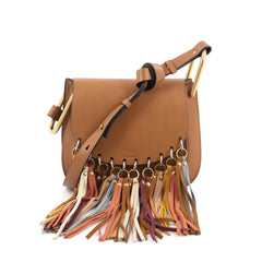 Chloe Hudson Handbag Whipstitch Leather Small Brown