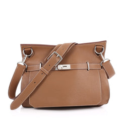 Hermes Jypsiere Handbag Clemence 34 Brown