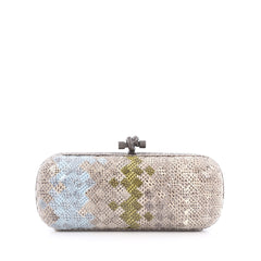 Bottega Veneta Box Knot Clutch Intrecciato Karung Long Neutral