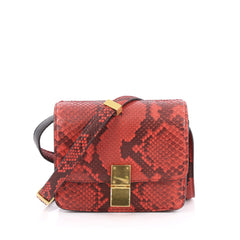 Celine Box Bag Python Small Red