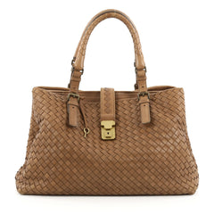 Bottega Veneta Roma Handbag Intrecciato Nappa Medium Brown