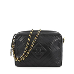 Chanel Vintage Chevron Camera Bag Quilted Leather Small Black