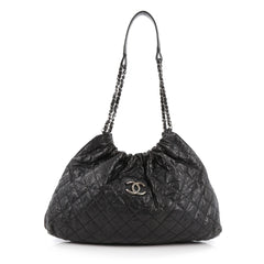 Chanel CC Elastic Shoulder Bag Quilted Glazed Caviar Small Black