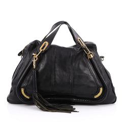 Chloe Paraty Top Handle Bag Leather Large Black 1783902