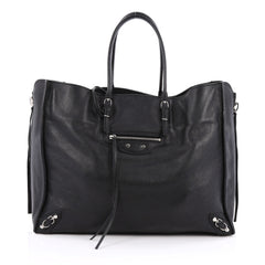 Balenciaga Papier A4 Zip Around Classic Studs Handbag Leather Black