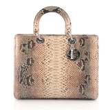 Christian Dior Lady Dior Handbag Python Large Neutral 1785804