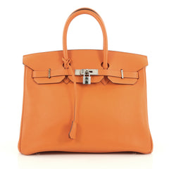 Hermes Birkin Handbag Orange Clemence with Palladium Hardware 35 Orange 1786001