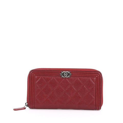 c65122509e75 Buy Chanel Boy L-Gusset Zip Wallet Quilted Caviar Long Red 1788201 – Rebag