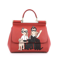 Dolce & Gabbana Miss Sicily Family Handbag Patchwork Saffiano Leather Small Red 1788603