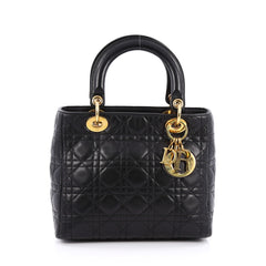 Christian Dior Lady Dior Handbag Cannage Quilt Lambskin Medium Black 1789201