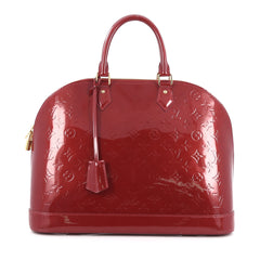 Louis Vuitton Alma Handbag Monogram Vernis GM Red