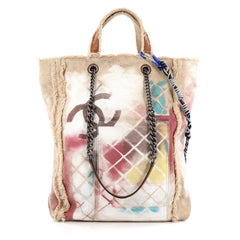 Chanel Art School Oh My Boy Tote Graffiti Canvas Neutral