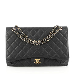Chanel Classic Single Flap Bag Quilted Caviar Maxi Black 1792001