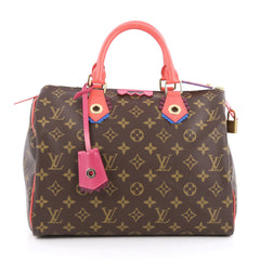 Louis Vuitton Speedy Handbag Limited Edition Totem Monogram Canvas 30 Brown 1793201