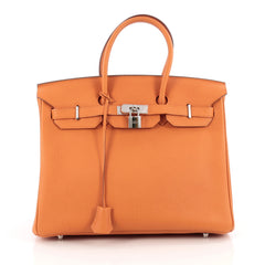 Hermes Birkin Handbag Orange Togo with Palladium Hardware 35 Orange 1793301
