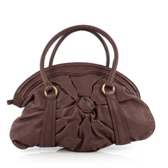 Valentino Rosette Satchel Leather Large Brown