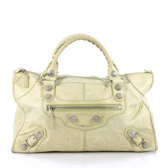 Balenciaga Work Giant Studs Handbag Leather Green 1797014