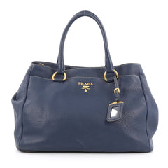 Prada Convertible Shopping Tote Vitello Daino Large Blue 1798002