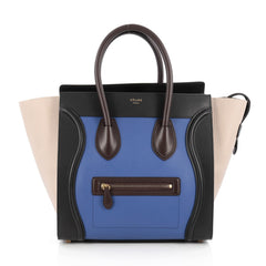 Celine Tricolor Luggage Handbag Leather Mini Blue