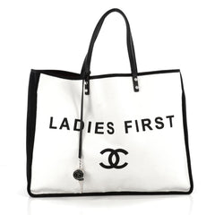 Chanel Ladies First Whistle Tote Canvas Large White