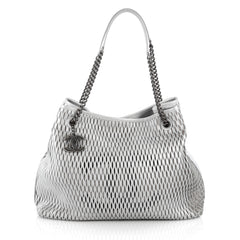 Chanel CC Logo Charm Tote Perforated Leather Large Gray