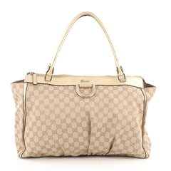 Gucci D Gold Tote GG Canvas Large Brown