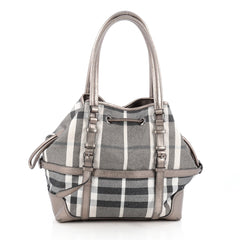 Burberry Drawstring Buckle Tote Shimmer Check Canvas 1803402