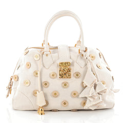 Louis Vuitton Polka Dot Panama Bowly Handbag Embellished Canvas Neutral 1805204
