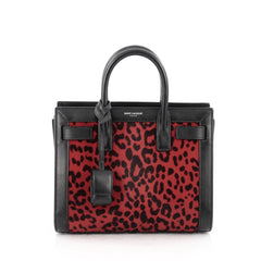 Saint Laurent Sac De Jour Handbag Printed Calf Hair Nano Red 1805901