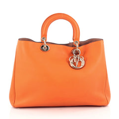 Christian Dior Diorissimo Tote Pebbled Leather Large Orange 1806002
