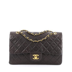 Chanel Vintage Classic Double Flap Bag Quilted Lambskin Medium brown