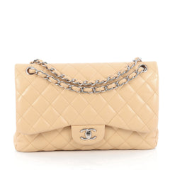 Chanel Classic Double Flap Bag Quilted Lambskin Jumbo Neutral
