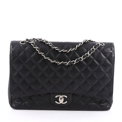 Chanel Classic Double Flap Bag Quilted Caviar Maxi Black 1806701
