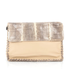 Bottega Veneta Fold Over Convertible Shoulder Bag Leather with Python Medium Neutral 1807702