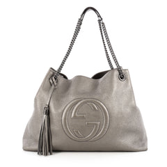 Gucci Soho Shoulder Bag Chain Strap Leather Large Gray 1809601