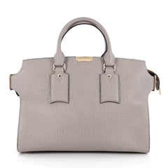 Burberry Clifton Convertible Tote Heritage Grained Leather Large Gray 1809701