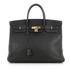 Hermes Birkin Handbag Black Togo with Gold Hardware 40 Black 1809901