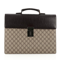 Gucci Combination Lock Briefcase Coated Canvas Large brown