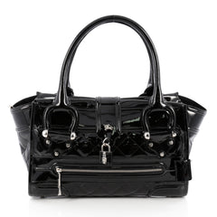 Burberry Manor Bag Quilted Patent Large Black 1811401