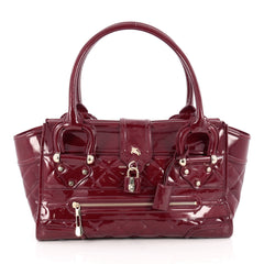 Burberry Manor Bag Quilted Patent Large Red 1811802