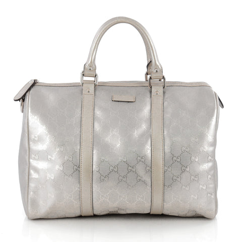 5c7c6ae548953d Buy Gucci Joy Boston Bag GG Coated Canvas Medium Silver 1813001 – Rebag