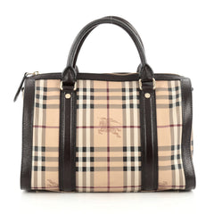 Burberry Alchester Bowling Bag Haymarket Coated Canvas and Leather Medium Brown 1813002
