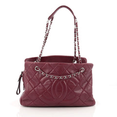 Chanel Timeless CC Soft Tote Quilted Caviar Medium red