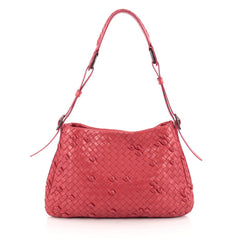 Bottega Veneta Naruto Knot Shoulder Bag Intrecciato Nappa Small Red