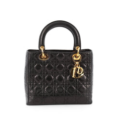Christian Dior Lady Dior Handbag Cannage Quilt Lambskin Medium Black 1816001