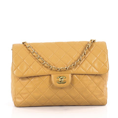 Chanel Vintage Square Single Flap Bag Quilted Lambskin Jumbo Orange